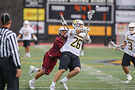 Towson, MD - May 6, 2017: Towson Tigers Joe Seider (26) passes the ball during game between Towson and UMASS at  Minnegan Field at Johnny Unitas Stadium  in Towson, MD. May 6, 2017.  (Photo by Elliott Brown/Media Images International)