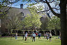 April 22, 2017; Students play volleyball on South Quad, Spring 2017. (Photo by Matt Cashore/University of Notre Dame)