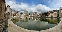 Panoramic view of Half Moon Pond, Hong Cun Village, Yi County, China