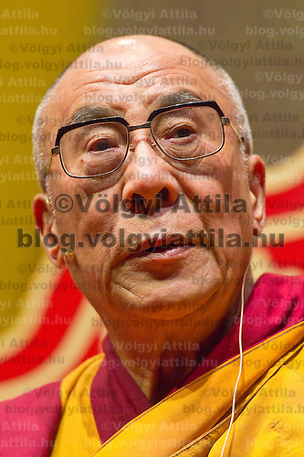 Exiled buddhist spiritual leader Tenzin Gyatso the 14th Dalai Lama is seen during his lecture about Tibetan Buddhism in Budapest, Hungary, Sunday, 19. September 2010. ATTILA VOLGYI