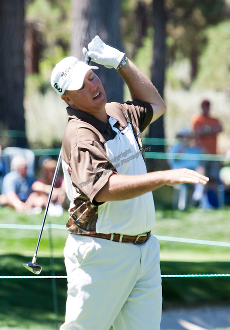 August 7, 2011:  Boo Weekley reacts after hitting a poor tee shot on the 15th hole during the Reno-Tahoe Open at Montrêux.