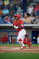 Williamsport Crosscutters second baseman Brayan Gonzalez (2) follows through on a swing during a game against the Mahoning Valley Scrappers on August 28, 2018 at BB&T Ballpark in Williamsport, Pennsylvania.  Williamsport defeated Mahoning Valley 8-0.  (Mike Janes/Four Seam Images)