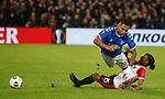 28.11.2019: Feyenoord v Rangers: Alfredo Morelos and Tyrell Malacia