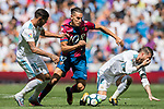 Alexander Alegria Moreno (C) of Levante UD  fights for the ball with Theo Bernard Francois Hernandez Pi (L) and Sergio Ramos (R) of Real Madrid during the La Liga match between Real Madrid and Levante UD at the Estadio Santiago Bernabeu on 09 September 2017 in Madrid, Spain. Photo by Diego Gonzalez / Power Sport Images