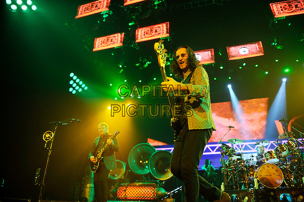 Alex Lifeson and Geddy Lee of Rush.Rush performing in concert, o2 Arena, Greenwich, London, England, UK, 24th May 2013..music live on stage gig performing performance half length guitar playing singing microphone .CAP/MAR.© Martin Harris/Capital Pictures.