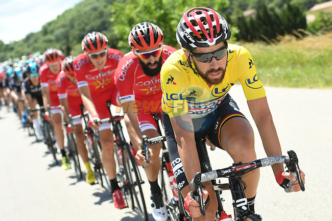 The peloton including race leader yellow jersey Thomas De Gendt (BEL) Lotto-Soudal in action during Stage 3 of the Criterium du Dauphine 2017, running 184km from Chambon-sur-Lignon to Tullins, France. 6th June 2017. <br /> Picture: ASO/A.Broadway | Cyclefile<br /> <br /> <br /> All photos usage must carry mandatory copyright credit (&copy; Cyclefile | ASO/A.Broadway)