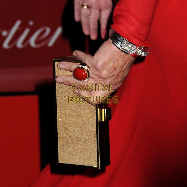 Dame Helen Mirren's clutch bag .24th Annual Palm Springs International Film Festival Awards Gala held at at Palm Springs Convention Center,  Palm Springs, California, USA, .5th January 2013..detail ring hand clutch bag bracelet .CAP/ADM/BP.©Byron Purvis/AdMedia/Capital Pictures.