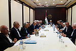 Palestinian President Mahmoud Abbas meets with members of the Fatah Central Committee in the West Bank city of Ramallah on Sept. 12, 2017. Photo by Thaer Ganaim