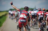 assistance required for  Philippe Gilbert (BEL/BMC)<br /> <br /> 2014 Belgium Tour<br /> stage 4: Lacs de l'Eau d'Heure - Lacs de l'Eau d'Heure (178km)
