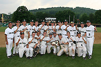 June 12, 2010:  Lindenhurst first baseman Jon McGibbon (7 - front row, kneeling holdign the trophy) and his team celebrate defeating Guilderland during the NYSPHAA Class-AA State Championship game at Binghamton University in Binghamton, NY.  Lindenhurst defeated Guilderland by the score of 15-2.  McGibbon was seleced in the 29th round by the Seattle Mariners of the 2010 MLB draft but chose to attend Clemson University to play for the Bulldogs.  Photo By Mike Janes/Four Seam Images