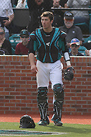 Coastal Carolina Chanticleers catcher Tucker Frawley #8 during a game against the University of Virginia Cavaliers at Watson Stadium at Vrooman Field on February 18, 2012 in Conway, SC.  Virginia defeated Coastal Carolina 9-3. (Robert Gurganus/Four Seam Images)