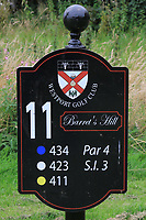 New sign at the 11th tee during the Preview of the AIG Cups & Shields Connacht Finals 2019 in Wesport Golf Club, Westport, Co. Mayo on Thursday 8th August 2019.<br /> <br /> Picture:  Thos Caffrey / www.golffile.ie<br /> <br /> All photos usage must carry mandatory copyright credit (© Golffile | Thos Caffrey)