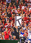 "13 October 2016: A Washington Nationals fan holds up a ""K"" poster indicating a strikeout by starting pitcher Max Scherzer during the NLDS Game 5 between the Los Angeles Dodgers and the Washington Nationals at Nationals Park in Washington, DC. The Dodgers edged out the Nationals 4-3, to take Game 5, and the Series, 3 games to 2, moving on to the National League Championship against the Chicago Cubs. Mandatory Credit: Ed Wolfstein Photo *** RAW (NEF) Image File Available ***"
