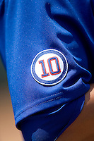 Ron Santo patch on the Iowa Cubs uniforms on April 10th, 2011 at Dell Diamond in Round Rock, Texas.  (Photo by Andrew Woolley / Four Seam Images)
