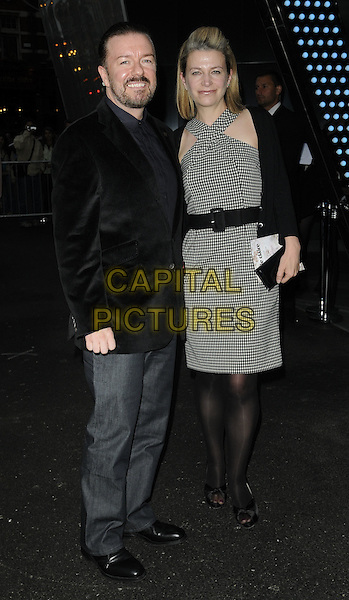 RICKY GERVAIS & JANE FALLON .Marie Claire Inspire And Mentor Campaign Cocktail Reception held at the W Hotel, Leicester Square - Arrivals..London, England, UK, 17th May 2011..full length black jacket jeans  couple blazer gingham checked dress belt tights christian louboutin shoes .CAP/CAN.©Can Nguyen/Capital Pictures.