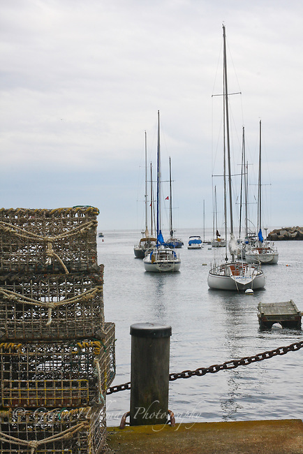 Sailboats and lobster traps. Rockport Harbor