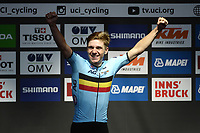 Picture by Richard Blaxall/SWpix.com - 26/09/2018 - Cycling 2018 Road Cycling World Championships Innsbruck-Tiriol, Austria - Men's Junior Race - Remco Evenepoel of Belgium celebrates winning Gold