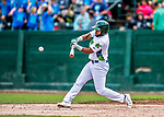 25 July 2017: Vermont Lake Monsters outfielder Logan Farrar, a 36th round draft pick for the Oakland Athletics, connects in the 4th inning against the Tri-City ValleyCats at Centennial Field in Burlington, Vermont. The Lake Monsters defeated the ValleyCats 11-3 in NY Penn League action. Mandatory Credit: Ed Wolfstein Photo *** RAW (NEF) Image File Available ***