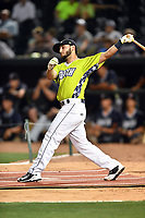 Michael Paez of the Columbia Fireflies swings at at a pitch during the home run derby as part of the All Star Game festivities at Spirit Communications Park on June 19, 2017 in Columbia, South Carolina. The Soldiers defeated the Celebrities 1-0. (Tony Farlow/Four Seam Images)