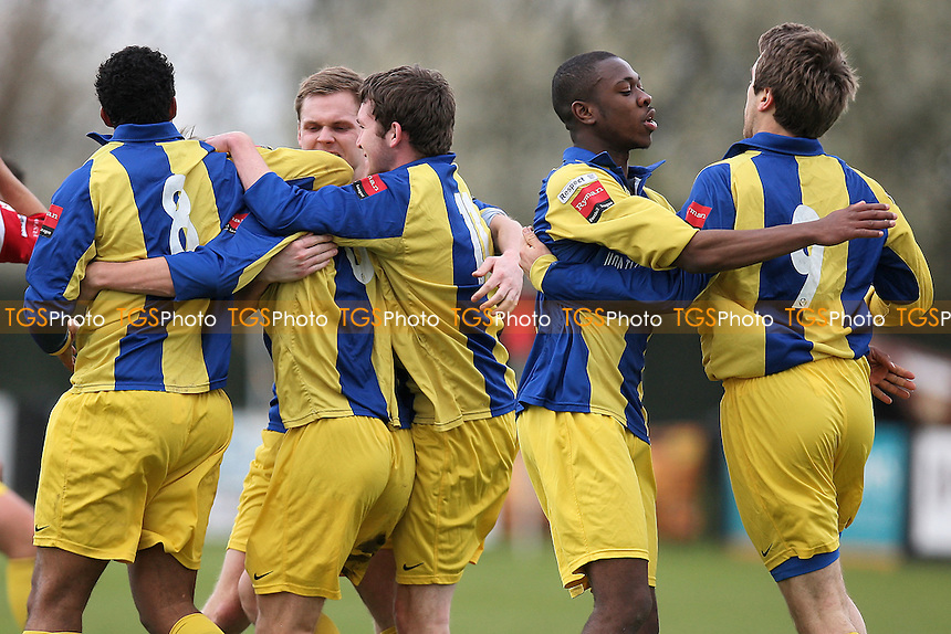 Joe Bingham scores the first goal for Romford and celebrates with his team mates - Needham Market vs Romford - Ryman League Division One North Football at Bloomfields - 14/04/12 - MANDATORY CREDIT: Gavin Ellis/TGSPHOTO - Self billing applies where appropriate - 0845 094 6026 - contact@tgsphoto.co.uk - NO UNPAID USE.