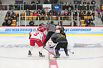 ADRIAN, MI - MARCH 18: Plattsburgh State and Adrian College take the opening face off at the start of the Division III Women's Ice Hockey Championship held at Arrington Ice Arena on March 19, 2017 in Adrian, Michigan. Plattsburgh State defeated Adrian 4-3 in overtime to repeat as national champions for the fourth consecutive year. by Tony Ding/NCAA Photos via Getty Images)