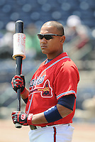 13 April 2008: Infielder Diory Hernandez (7) of the Mississippi Braves, Class AA affiliate of the Atlanta Braves, in a game against the Mobile BayBears at Trustmark Park in Pearl, Miss. Photo by:  Tom Priddy/Four Seam Images