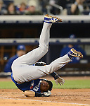 Munenori Kawasaki (Blue Jays),.APRIL 26, 2013 - MLB :.Munenori Kawasaki of the Toronto Blue Jays lies on the ground after being hit by a pitch during the baseball game against the New York Yankees at Yankee Stadium in The Bronx, New York, United States. (Photo by AFLO)