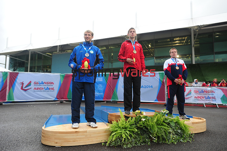IPC European Athletics Championship 2014<br /> Swansea University<br /> <br /> Medal ceremony: Men's Javelin throw F37/38.<br /> <br /> 21.08.14<br /> Chris Vaughan-SPORTINGWALES