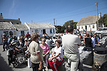 Tourists at cafe and gift shops near Dún Aengus, Inishmore, Aran Islands, Ireland