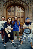 SEPULTURA - L-R: Paolo Jr, Igor Cavalera, Andreas Kisser, Max Cavalera - Photosession in London UK - 01 Sep 1993.  Photo credit: George Chin/IconicPix