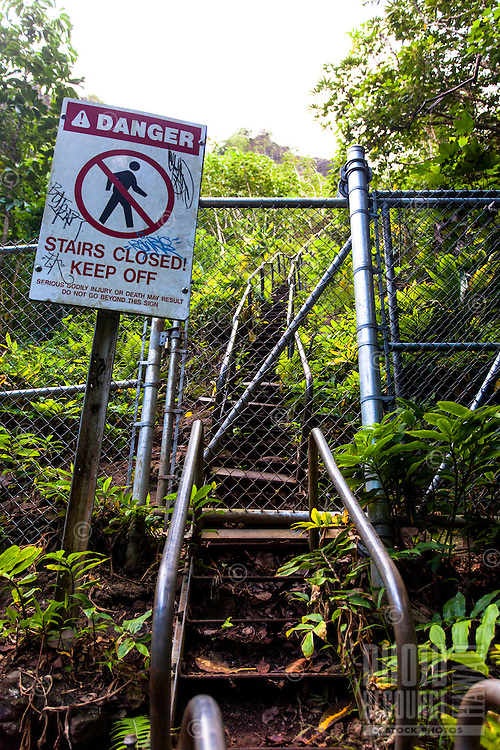 """Closed entrance to the Haiku Stairs (""""Stairway to Heaven"""") hiking trail in Kaneohe, O'ahu"""
