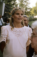 Ketchum, Idaho, U.S.A, August, 1989. Mariel Hemingway at her father's, Jack Hemingway, second wedding with Angela Holvey.
