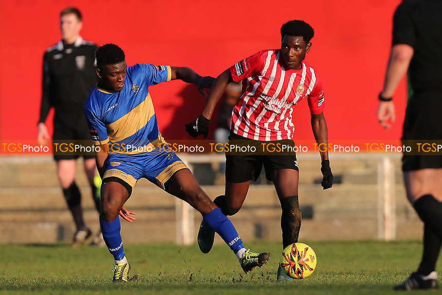 Tobi Coker of Hornchurch and Ayodeji Olukoga of Romford during AFC Hornchurch vs Romford, Ryman League Division 1 North Football at Hornchurch Stadium on 4th February 2017