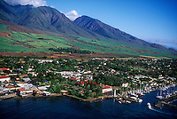Aerial view of popular vacation spot, Lahaina, Hawaii.  Pioneer Inn in forground center.