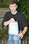CLASS ACT: Sean O'Dwyer, a student of Causeway Comprehensive Secondary School, who received 7 A1's and 1 A2 in his Leaving Certificate on Wednesday.