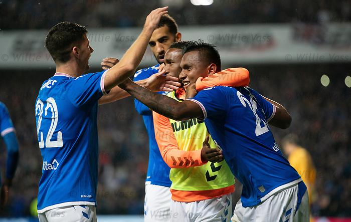 29.08.2019 Rangers v Legia Warsaw: Alfredo Morelos celebrates