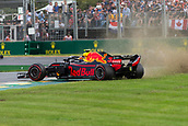 25th March 2018, Melbourne Grand Prix Circuit, Melbourne, Australia; Melbourne Formula One Grand Prix, race day; The number 33 Aston Martin Red Bull driven by Max Verstappen spins off track