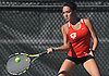 Alexis Huber of Half Hollow Hills East returns a shot during the Suffolk County girls tennis Division I doubles consolation final against Commack at Half Hollow Hills West High School on Tuesday, Oct. 11, 2016.