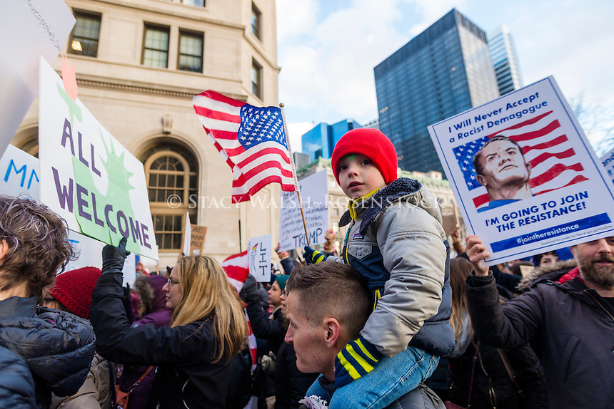New York, USA - 29 January 2017 - Thousands of New Yorkers rallied in Battery Park for a march to Foley Square to protest president trump's travel ban against five middle east nations. ©Stacy Walsh Rosenstock/Alamy Live News