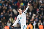 Cristiano Ronaldo of Real Madrid celebrating his score during the Europe Champions League 2017-18 match between Real Madrid and Borussia Dortmund at Santiago Bernabeu Stadium on 06 December 2017 in Madrid Spain. Photo by Diego Gonzalez / Power Sport Images