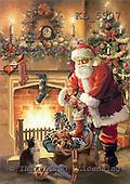 Interlitho, Simonetta, CHRISTMAS SANTA, SNOWMAN, paintings, santa, fireplace, tree, KL5907,#x# Weihnachtsmänner, Papá Noel, Weihnachten, Navidad, illustrations, pinturas klassisch, clásico ,Simonetta,itdp