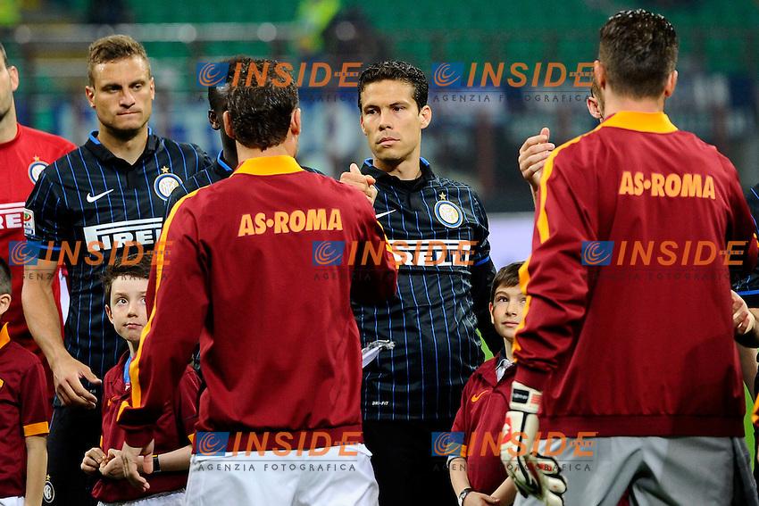 Hernanes Inter, Francesco Totti Roma<br /> Milano 25-04-2015 Stadio Giuseppe Meazza - Football Calcio Serie A Inter - Roma. Foto Giuseppe Celeste / Insidefoto