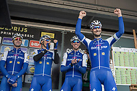 Tom Boonen (BEL/Quick Step Floors) on the podium pre race. He is riding his last race on Belgian soil with the race start in his hometown of Mol.<br /> <br /> 105th Scheldeprijs 2017 (1.HC)<br /> 1day race: Mol > Schoten 200km