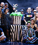 """Sophia Anne Caruso and Alex Brightman with cast  during the """"Beetlejuice"""" Celebrates 100th Performance on Broadway and a cake designed by Carlo's Bakery at the Winter Garden Theatre on July 23, 2019 in New York City."""