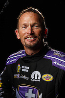 Feb 10, 2016; Pomona, CA, USA; NHRA funny car driver Jack Beckman poses for a portrait during media day at Auto Club Raceway at Pomona. Mandatory Credit: Mark J. Rebilas-USA TODAY Sports