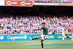 Dewald Human of South Africa kicks during the HSBC Hong Kong Sevens 2018 match between South Africa and England on April 7, 2018 in Hong Kong, Hong Kong. Photo by Marcio Rodrigo Machado / Power Sport Images