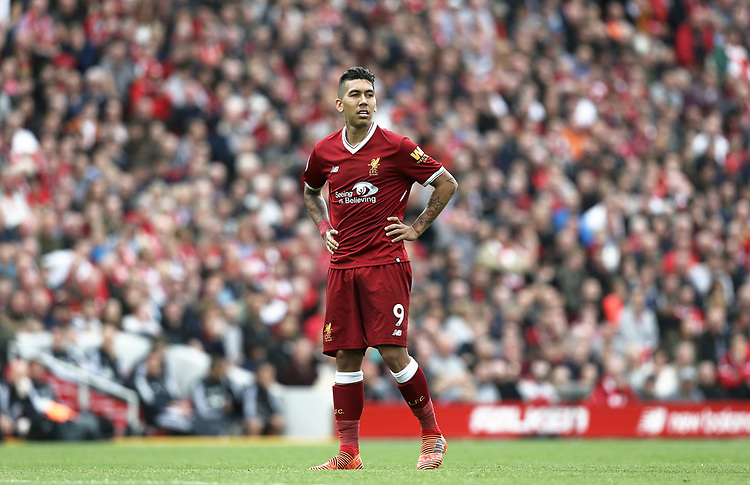 Liverpool's Roberto Firmino<br /> <br /> Photographer Rich Linley/CameraSport<br /> <br /> The Premier League - Liverpool v Manchester United - Saturday 14th October 2017 - Anfield - Liverpool<br /> <br /> World Copyright &copy; 2017 CameraSport. All rights reserved. 43 Linden Ave. Countesthorpe. Leicester. England. LE8 5PG - Tel: +44 (0) 116 277 4147 - admin@camerasport.com - www.camerasport.com