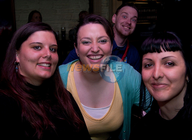 Grainne Klerney with French friends, in Ireland for St. Patrick's Day, Aurore Combe and Virgimie Soler..Picture: Shane Maguire / www.newsfile.ie.