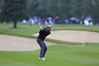 Ricardo Gouveia (POR) plays his 2nd shot on the 9th hole during a wet Saturday's Round 3 of the 2017 Omega European Masters held at Golf Club Crans-Sur-Sierre, Crans Montana, Switzerland. 9th September 2017.<br /> Picture: Eoin Clarke | Golffile<br /> <br /> <br /> All photos usage must carry mandatory copyright credit (&copy; Golffile | Eoin Clarke)