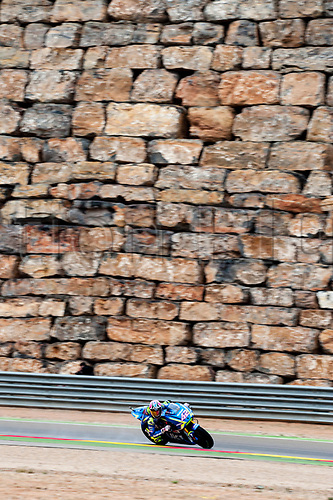22nd September 2017, MotorLand Aragon, Alcaniz, Spain; MotoGP of Aragon, Friday free practice; Alex Rins of the SUZUKI ECSTAR Motogp Team rounds the bend with the Motorland iconic wall in the background